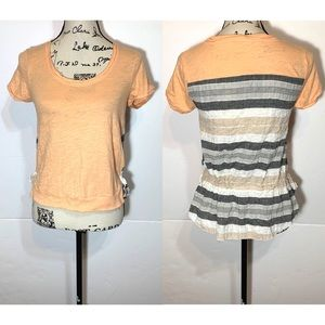 Anthropologie little yellow button Striped Top